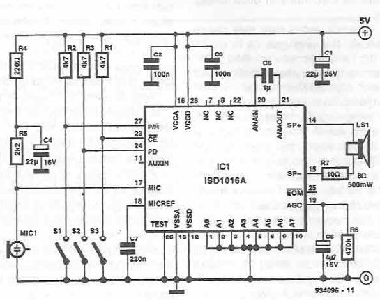 Voice recording and playback circuit