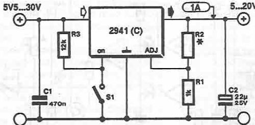 5-20V fixed output power supply circuit using LM2941C