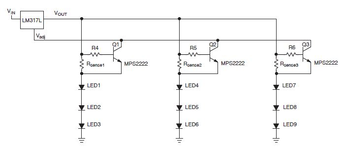 LM317 constant current source circuit for led driver