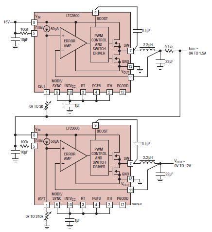 Bench power supply circuit using LTC3600