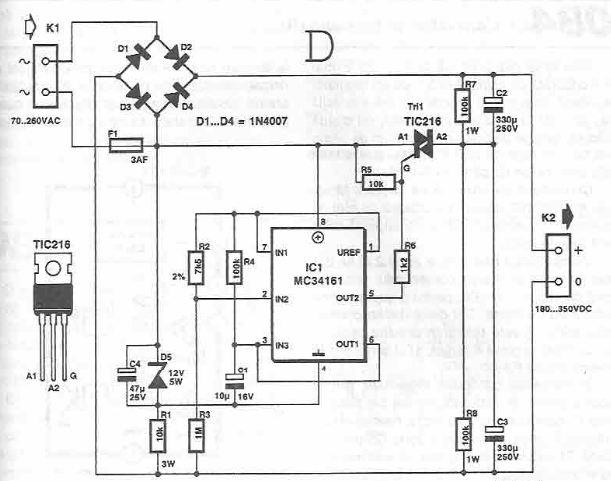 70-260V AC to 180-350V DC voltage converter