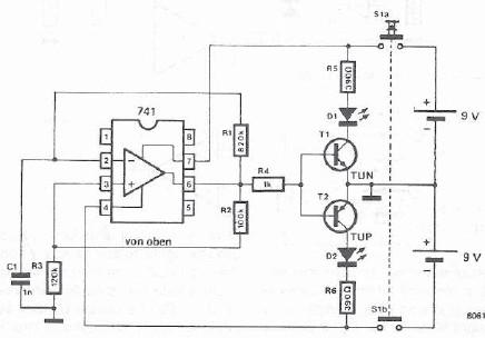 Operational amplifier testercircuit diagram