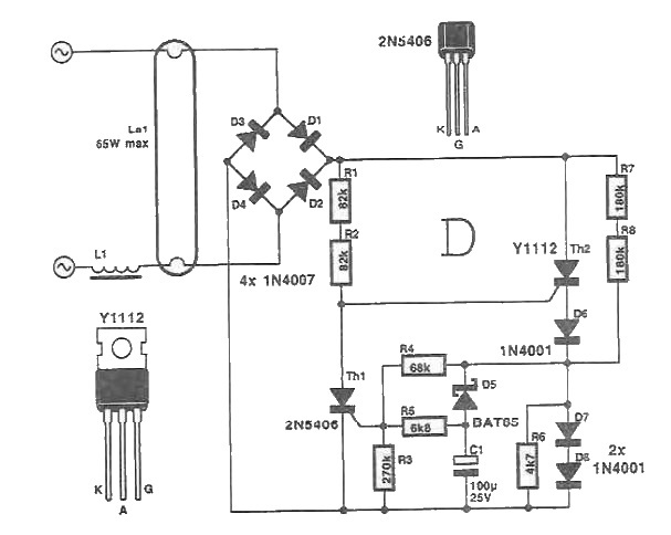 Electronic starter for neon tubes circuit diagram