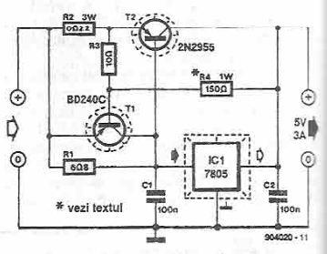 7805 high current voltage regulator power supply