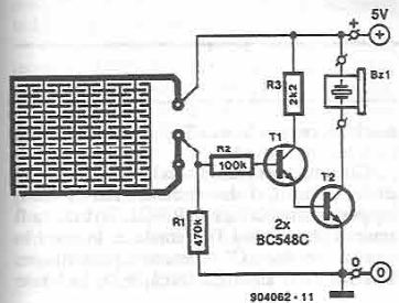 Liquid detector electronic project circuit diagram using transistors
