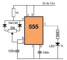 LED dimmer circuit using 555 timer