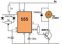 555 timer circuit DC motor speed control