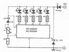 Battery voltage indicator electronic project using MC16889 SN16889