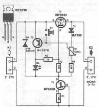 Electronic fuse with transistors circuit diagram