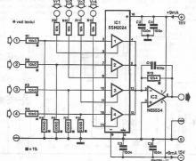 4 channel audio mixer circuit diagram using SSM2024
