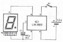 LM3909 flashing indicator circuit diagram