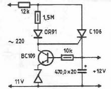 Power supply without transformer with triac circuit diagram