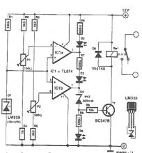 Temperature switching circuit using LM335